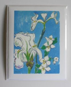 White Iris with Mockorange, single card front