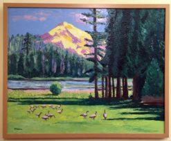Duck Lake Oil Painting framed by Susan Sternau