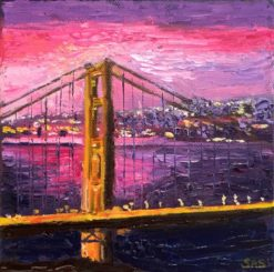 Golden Bridge Tower with San Francisco Mini Oil by Susan Sternau