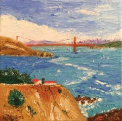 Headlands and Bridge Mini Oil by Susan Sternau