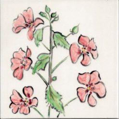 Pink Hibiscus tile by Susan Sternau