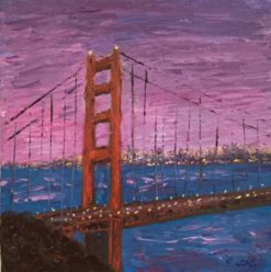 Pink Sky and Red Bridge Mini Oil by Susan Sternau