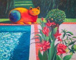 Tropical Cat 1 Oil Painting by Susan Sternau